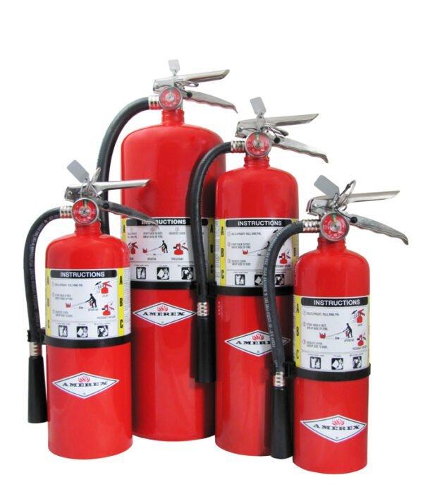 Amerex Fire Extinguishers on white background