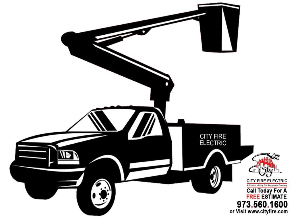 Drawing of City Fire bucket truck