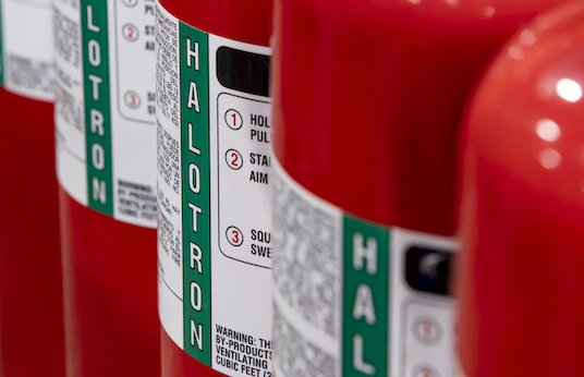 Close up of fire extinguishers