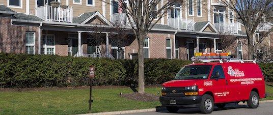 City Fire van in front of condos