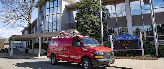 City Fire van in front of school