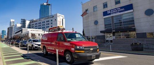 City Fire van in front of healthcare building