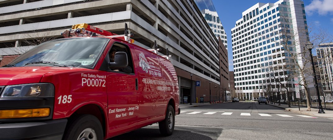 City Fire van in front of commercial building