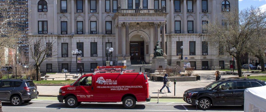 City Fire van in front of City Hall