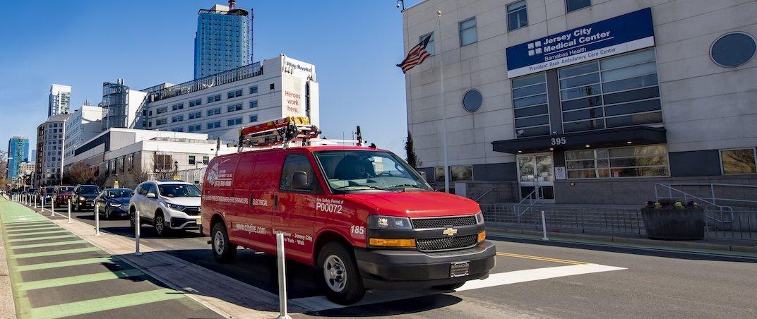 City Fire van in front of hospital