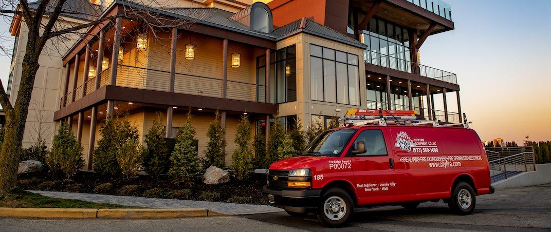 City Fire van in front of restaurant