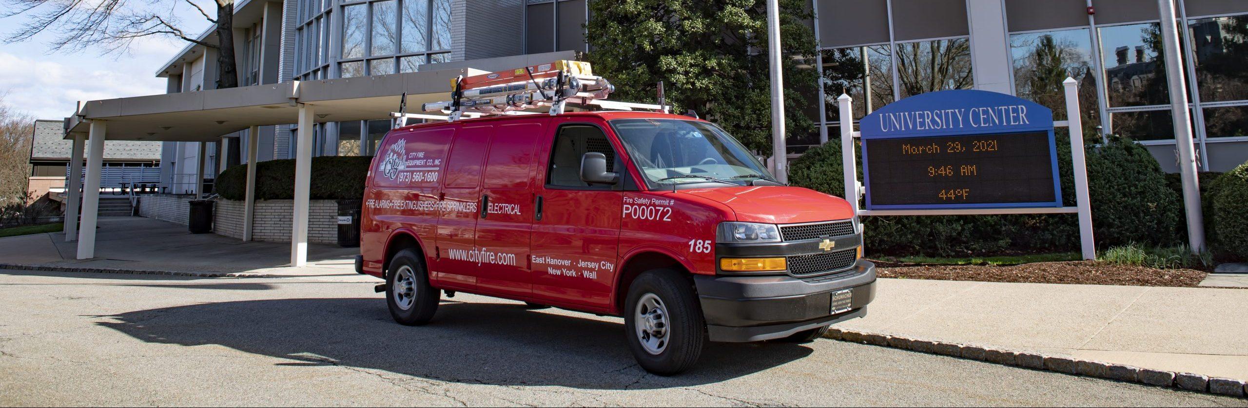 City Fire Van in front of college